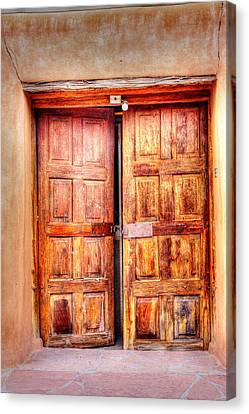 Doors To The Inner Santuario De Chimayo Canvas Print by Lanita Williams