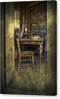 Doorway With Chair And Table Setting With Oil Lamp Canvas Print