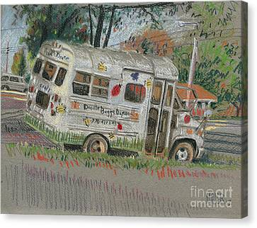 Canvas Print featuring the painting Doodlebugs Bus by Donald Maier