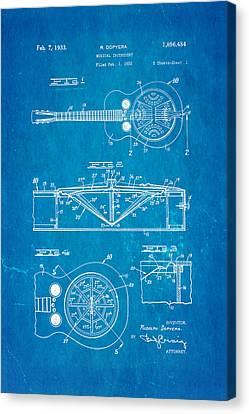 Dopyera Dobro Guitar Patent Art 1933 Blueprint Canvas Print