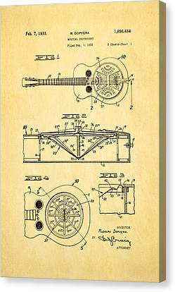 1933 Canvas Print - Dopyera Dobro Guitar Patent Art 1933 by Ian Monk