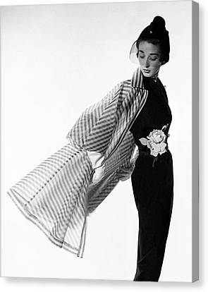 Plant Canvas Print - Dorian Leigh Wearing A Bonnie Cashin Dress by Cecil Beaton