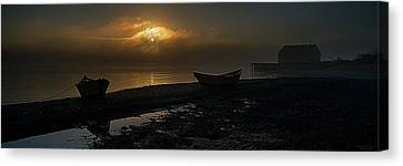 Canvas Print featuring the photograph Dories Beached In Lifting Fog by Marty Saccone