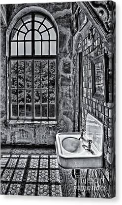 Dormer Bathroom Side View Bw Canvas Print by Susan Candelario