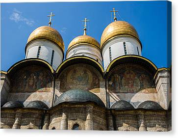 Dormition Cathedral Of Moscow Kremlin - Featured 3 Canvas Print by Alexander Senin