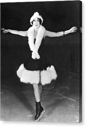 Dorothy Sebastian On Ice Canvas Print by Underwood Archives