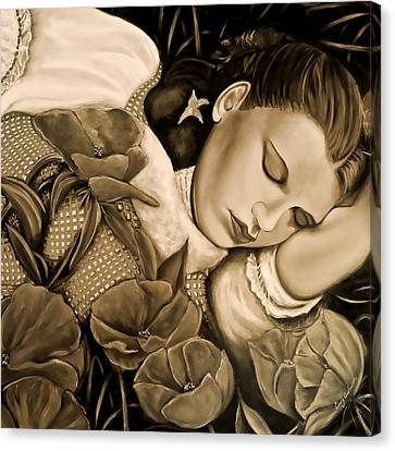 Canvas Print featuring the painting Dorothy's Sleep Sepia by Cindy Anderson