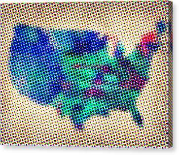 Dotted Usa Map Canvas Print by Naxart Studio
