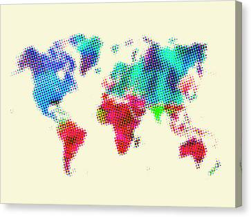 Dotted World Map 2 Canvas Print by Naxart Studio