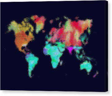 Dotted World Map 3 Canvas Print by Naxart Studio