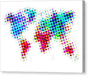 Dotted World Map 4 Canvas Print by Naxart Studio
