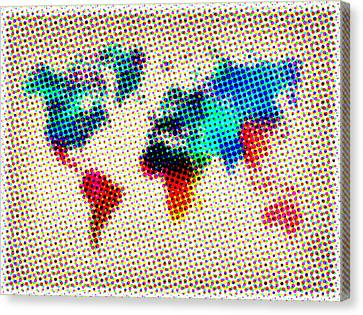 Dotted World Map Canvas Print by Naxart Studio