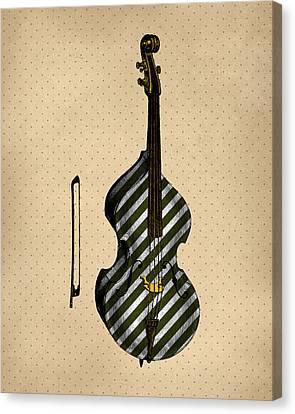 Double Bass Vintage Illustration Canvas Print