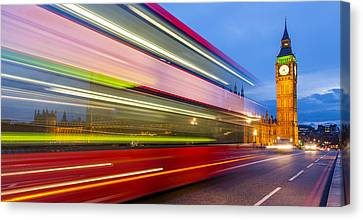 Double Decker And Big Ben Canvas Print by Adam Pender