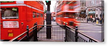 Double-decker Buses On The Road, Oxford Canvas Print