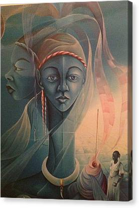 Double Face Of A Voodoo Woman Canvas Print by Haitian artist