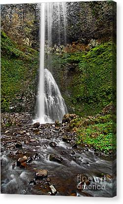 Double Falls In Silver Falls State Park In Oregon Canvas Print by Jamie Pham