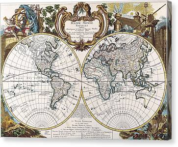 Double Hemisphere Map 1744 Canvas Print by Dan Sproul