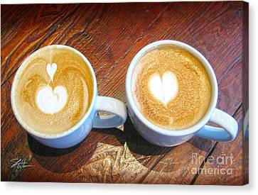Double Latte Love Canvas Print by Shari Warren