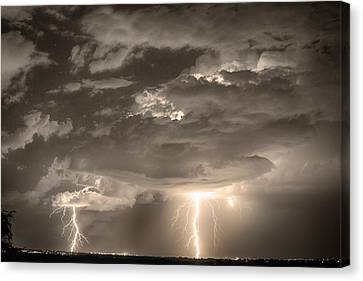Double Lightning Strikes In Sepia Hdr Canvas Print by James BO  Insogna