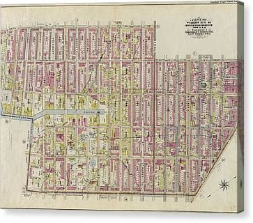 Double Page Plate No. 3 Bounded By Smith St., Bergen St Canvas Print by Litz Collection