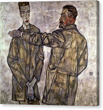 Double Portrait Of Otto And Heinrich Benesch Canvas Print by Egon Schiele