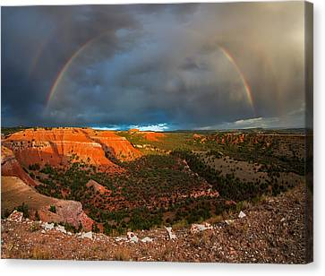 Double Rainbow Canvas Print by Leland D Howard