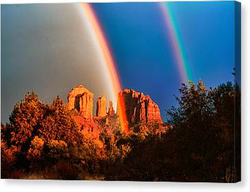 Double Rainbow On Cathedral Rock Canvas Print by Linda Pulvermacher