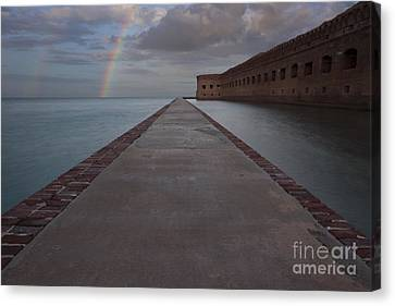 Canvas Print featuring the photograph Double Rainbow Over Fort Jefferson by Keith Kapple