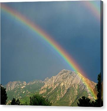 Olympus Canvas Print - Double Rainbow Over Mount Olympus by Howie Garber
