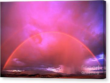 Double Rainbow Over Mount Shasta Canvas Print by Dave Welling