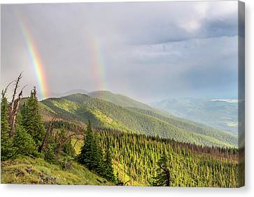 Double Rainbow Over The Whitefish Range Canvas Print by Chuck Haney
