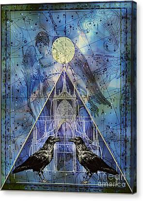 Double Raven Constellation Canvas Print by Judy Wood