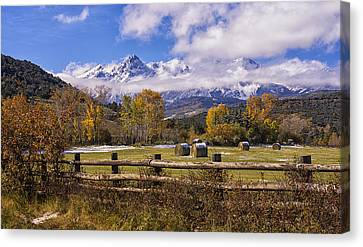 Double Rl Ranch Canvas Print by Priscilla Burgers