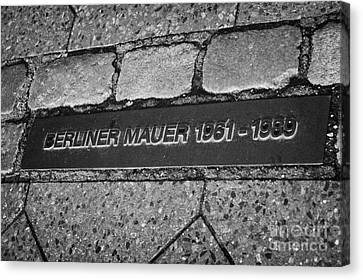 double row of bricks across berlin to mark the position of the berlin wall berliner mauer Berlin Germany Canvas Print