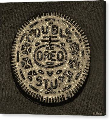 Double Stuff Oreo In Sepia Negitive Canvas Print by Rob Hans