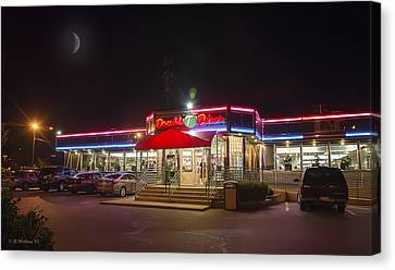 Double T Diner At Night Canvas Print