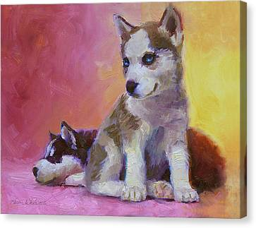 Double Trouble - Alaskan Husky Sled Dog Puppies Canvas Print by Karen Whitworth