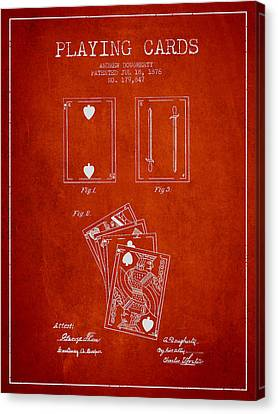 Dougherty Playing Cards Patent Drawing From 1876 - Red Canvas Print by Aged Pixel