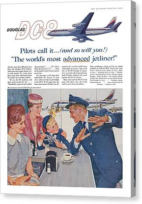 Douglas Dc8 Saturday Evening Post Advertisement Canvas Print