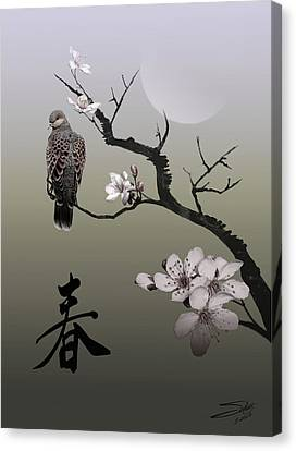 Dove Under Morning Moon Canvas Print