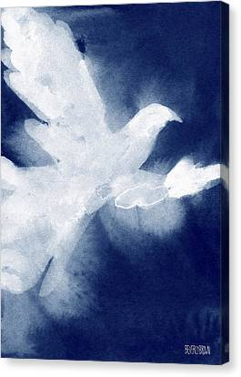 Animal Abstract Canvas Print - Dove Watercolor Painting Of Birds by Beverly Brown Prints