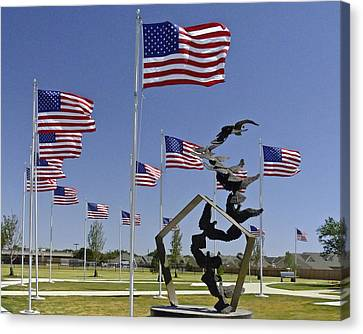 Canvas Print featuring the photograph Doves And Flags by Allen Sheffield