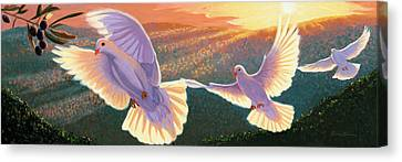 Doves And Olive Branch Canvas Print by Steve Simon