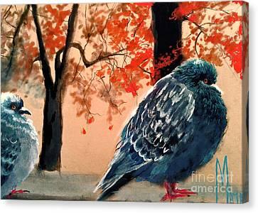 Canvas Print featuring the drawing Doves Drawing by Maja Sokolowska