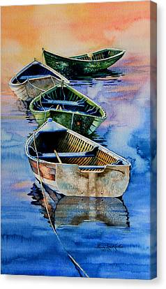 Rowboat Canvas Print - Down East Dories At Dawn by Hanne Lore Koehler