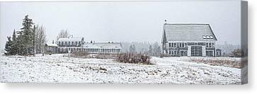 Maine Farmhouse Canvas Print - Down East Maine Farmhouse And Barn by Marty Saccone