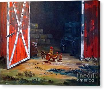 Canvas Print featuring the painting Down On The Farm by Lee Piper