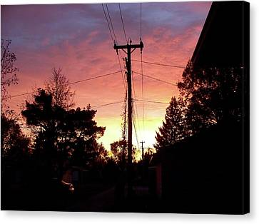 Down The Alley Sunrise Canvas Print by Thomas Woolworth