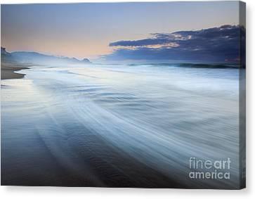Down The Beach Canvas Print by Mike  Dawson